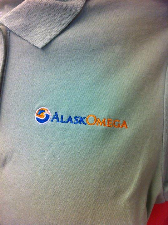 Embroidered AlaskOmega logo