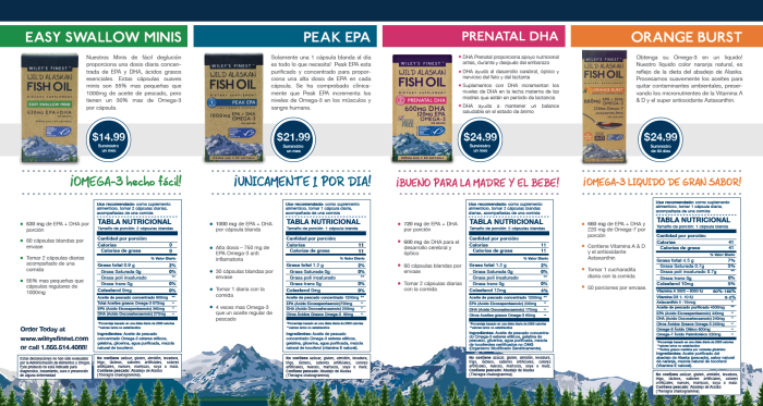 Wiley's Finest Wild Alaskan Fish Oil - Spanish Speaking Brochure